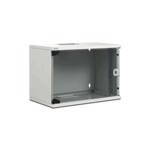 Digitus 7U nástěnná skříň, SOHO, nesmontovaná 370x540x400 mm, plné skleněné přední dveře, šedá