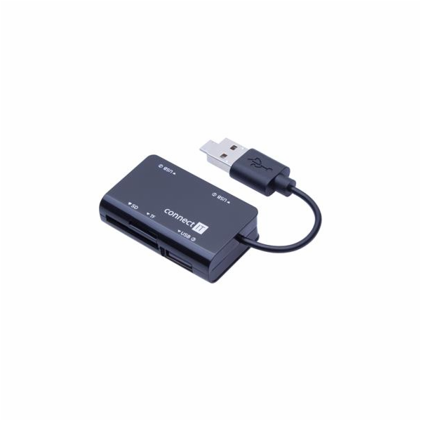 CONNECT IT OTG čtečka karet + USB hub microUSB/USB connerctor SLIDE
