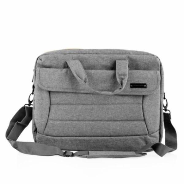 """Modecom brašna CHARLOTTE na notebooky do velikosti 15,6"""", kovové přezky, 2 komory, 6 kapes, šedá"""