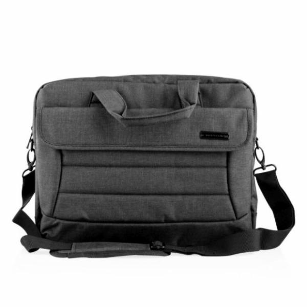 """Modecom brašna CHARLOTTE na notebooky do velikosti 15,6"""", kovové přezky, 2 komory, 6 kapes, černá"""