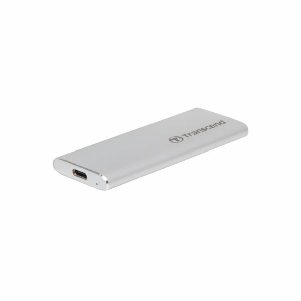 Transcend CM42 externí SSD rámeček, M.2 SATA SSD typ 2242, USB 3.0/USB-C, celohliníkový, stříbrný