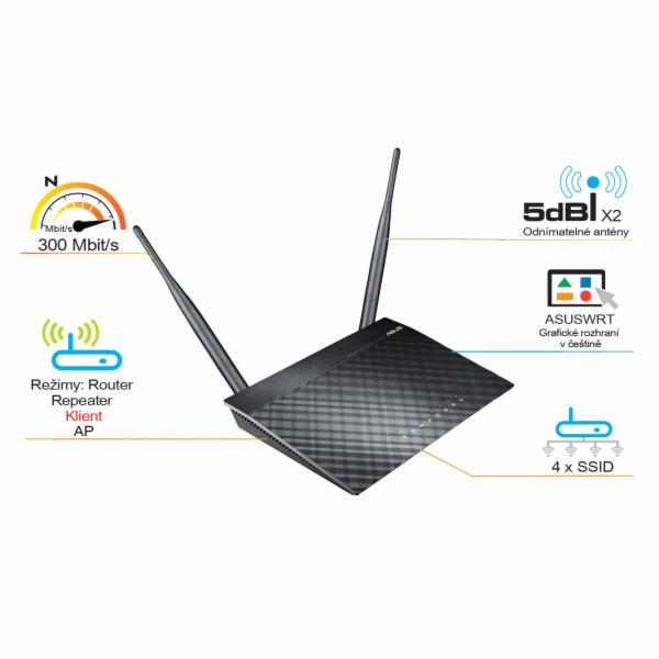 ASUS RT-N12K Wireless N300 Router, klient