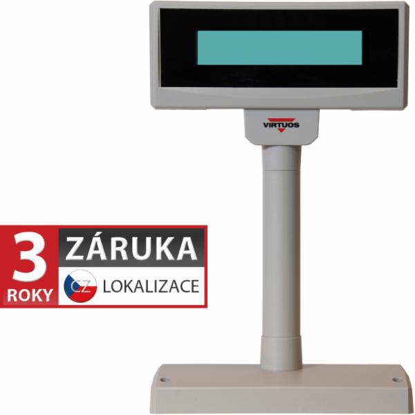 LCD zákaznický displej Virtuos FL-2024MW 2x20, serial (RS-232), 12V, béžový