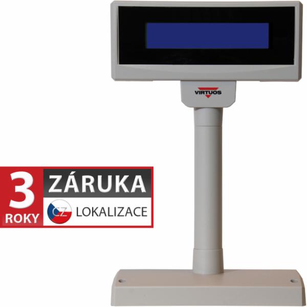 LCD zákaznický displej Virtuos FL-2024MB 2x20, serial (RS-232), 12V, béžový