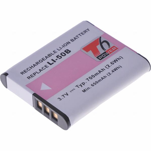 Baterie T6 power Olympus Li-50B, 700mAh, černá