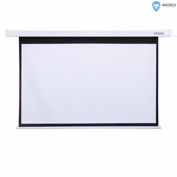 4WORLD 09466 4World Elektrické promítací plátno, dálkový ovladač, 203x152 (4:3) bílá matná
