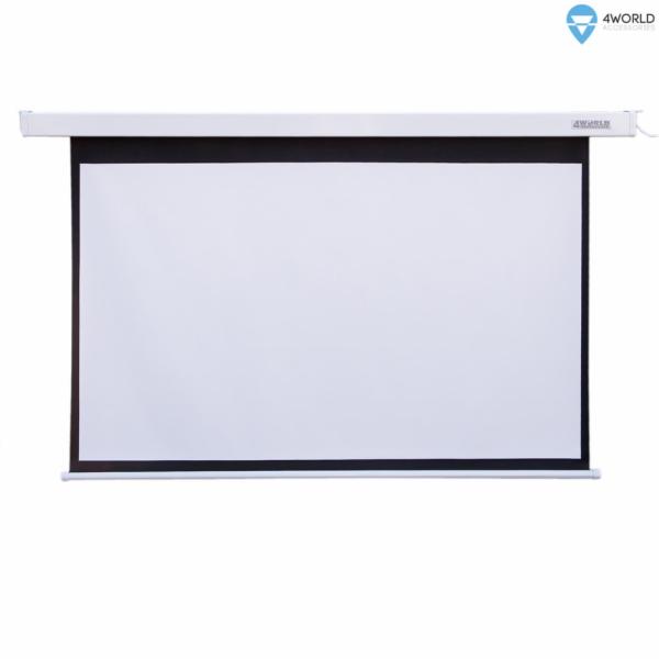 4WORLD 09457 4World Elektrické promítací plátno, dálkový ovladač, 144x81 (16:9) bílá matná