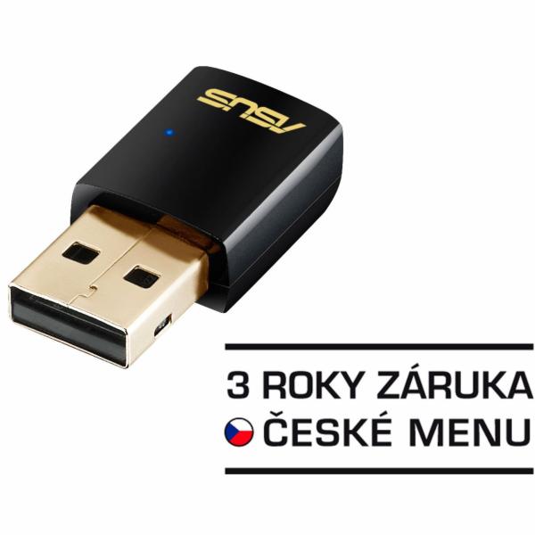 Asus dvoupásmový Wi-Fi adaptér AC600 USB client card, 802.11ac, 433/150Mbps