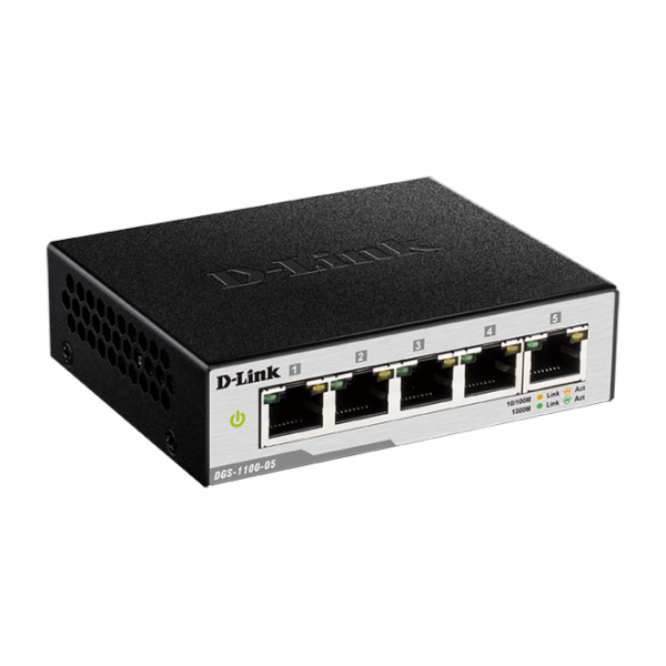 D-Link DGS-1100-05/E 5-Port Gigabit Smart Switch- 5-Port 100BaseTX Auto-Negotiating 10/100/1000Mbps Switc