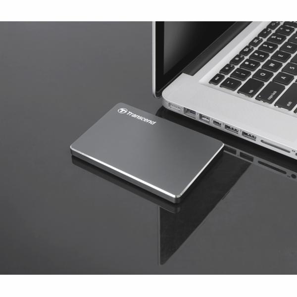 """TRANSCEND 2TB StoreJet 25C3N, 2.5"""", USB 3.0, Stylový externí hard disk, ultra-tenký, ocelově šedý"""