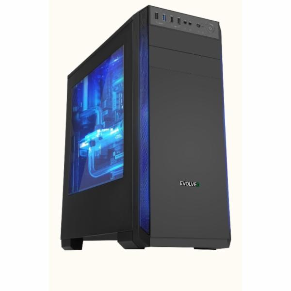 EVOLVEO T3, case ATX, 2x USB2.0 / 1x USB3.0 , 3x 120mm (modrý), černý s modrým podsvícením