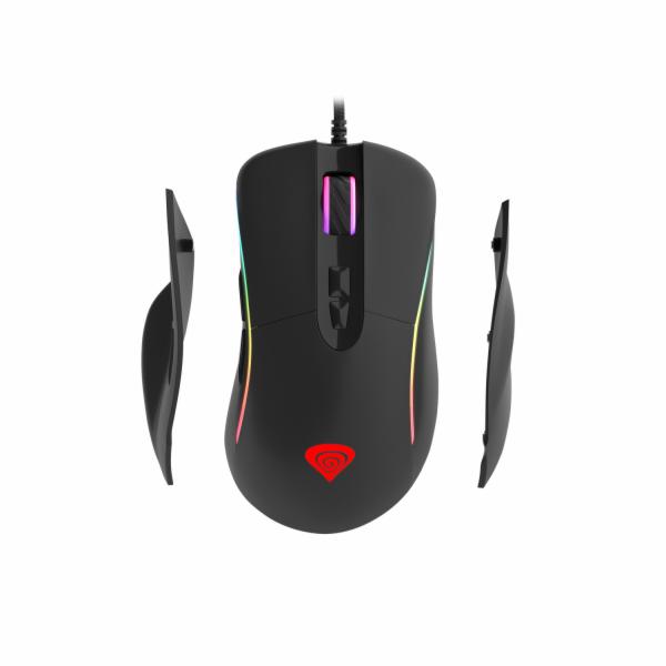 Herní optická myš Genesis Xenon 750, RGB podsvícení, software, 10200DPI, výměnné boční rukojeti