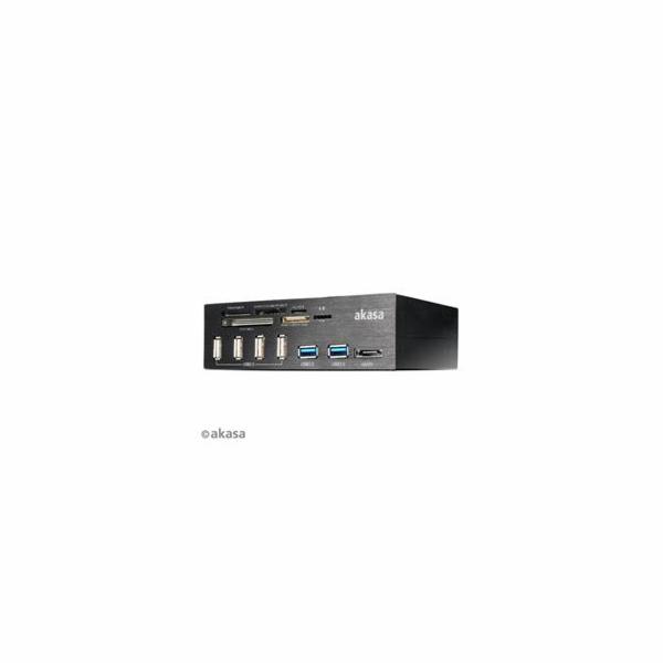 AKASA AK-HC-05BKV2 Interconnect PRO, Hliníkový panel s USB (4xUSB2, 2xUSB3.0), čtečka karet a eSATA