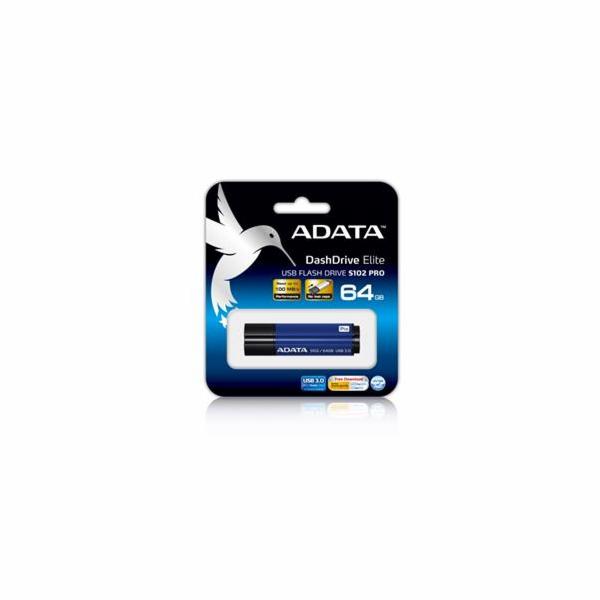 ADATA flash disk 64GB S102 USB 3.0 (čtení/zápis: 100/50MB/s) modrý