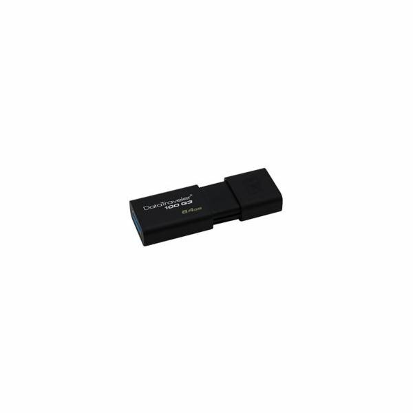 Kingston flash disk 64GB DT 100 G3 USB 3.0 (čtení/zápis: 100/10MB/s) černý