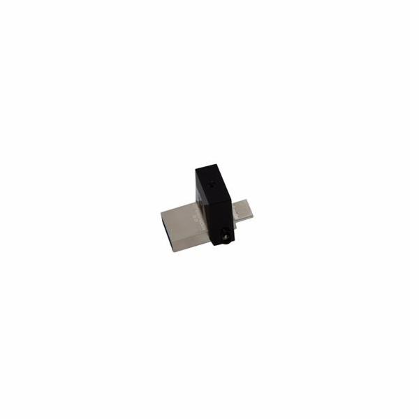 Kingston flash disk 64GB DT microDuo 3.0 OTG USB 3.0 micro USB (čtení/zápis: 70/15MB/s) kov/černý