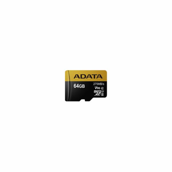 ADATA paměťová karta 64GB Premier One micro SDXC UHS-II U3 CL10 (čtení/zápis: 275/155MB/s) + SD adaptér