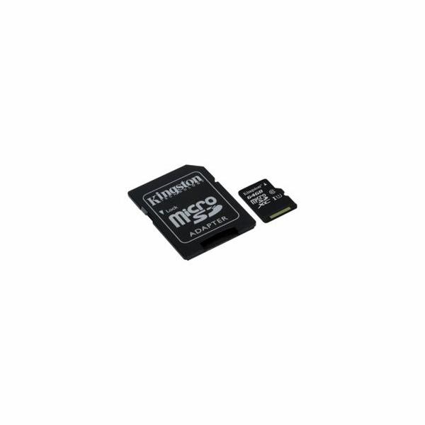 Kingston paměťová karta 64GB Canvas Select micro SDXC UHS-I U1 (čtení/zápis: 80/10MB/s) + SD adaptér