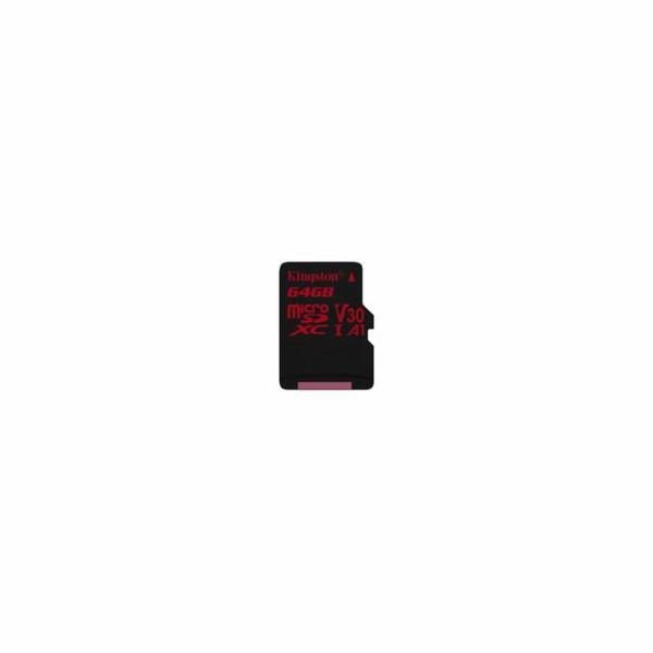 Kingston paměťová karta 64GB Canvas React micro SDXC UHS-I V30 (čtení/zápis: 100/80MB/s)
