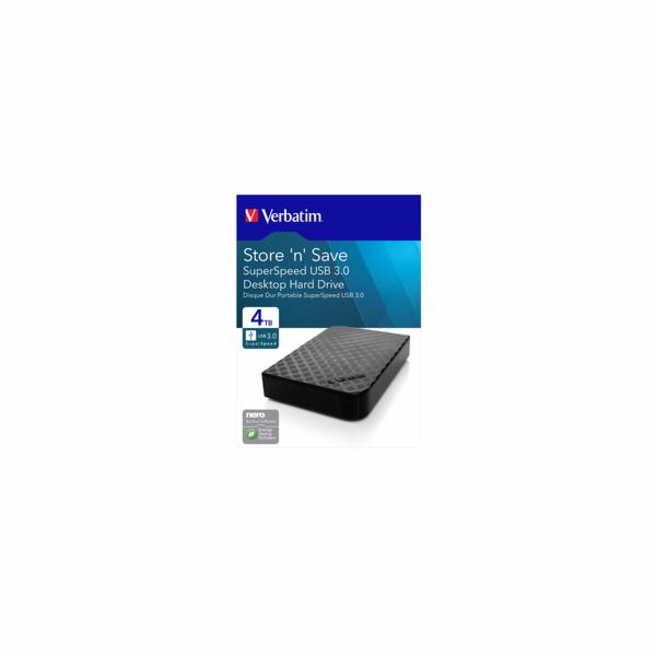 """VERBATIM HDD 3.5"""" 4TB Store 'n' Save, USB 3.0, GEN II"""