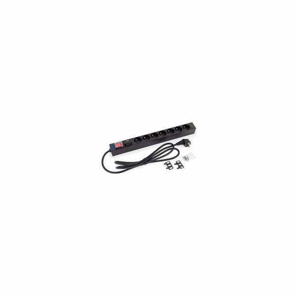 """19"""" 7xCZ zásuvka,vypínač,bleskojistka,3x1.5mm 2m kabel CZ-DE, RAL9"""