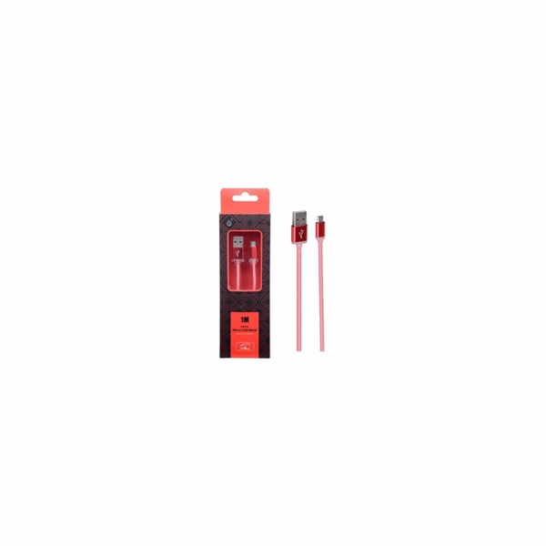 Datový kabel PLUS METAL MicroUSB, 1M, červený