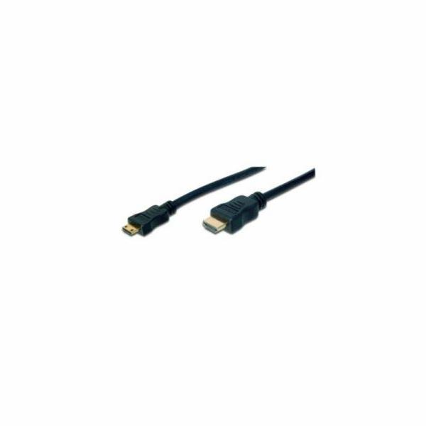 Digitus HDMI 1.3 / 1.2 (C to A) připojovací kabel 3 m , pozlacené kontakty, Ultra HD 24p