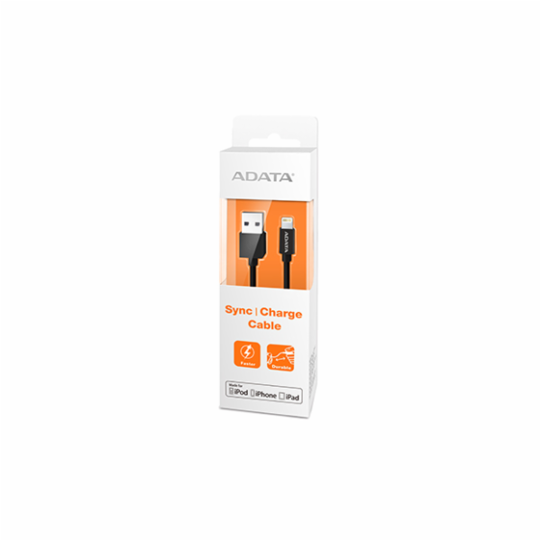 ADATA Sync & Charge Lightning kabel - USB A 2.0, 100cm, plastový, černý