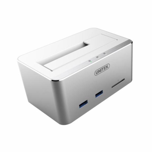 Unitek Y-1092 dokovací stanice HDD SATA - USB 3.0 + SD/microSD, UASP, hliníková