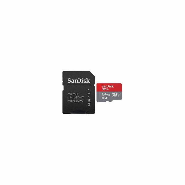SANDISK ULTRA microSDXC 64 GB 100MB/s A1 Cl.10 UHS-I + ADAPTER