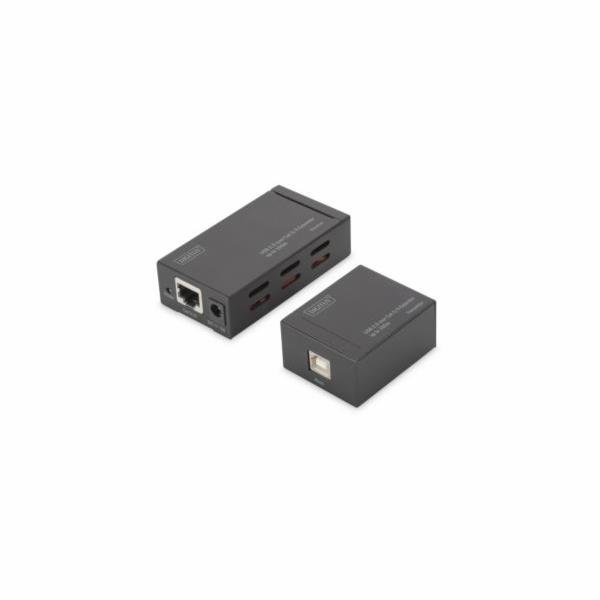 DIGITUS Sada USB 2.0 Extender, 100 m pro použití s kabelem Cat5 / 5e / 6 (UTP, STP nebo SFT)