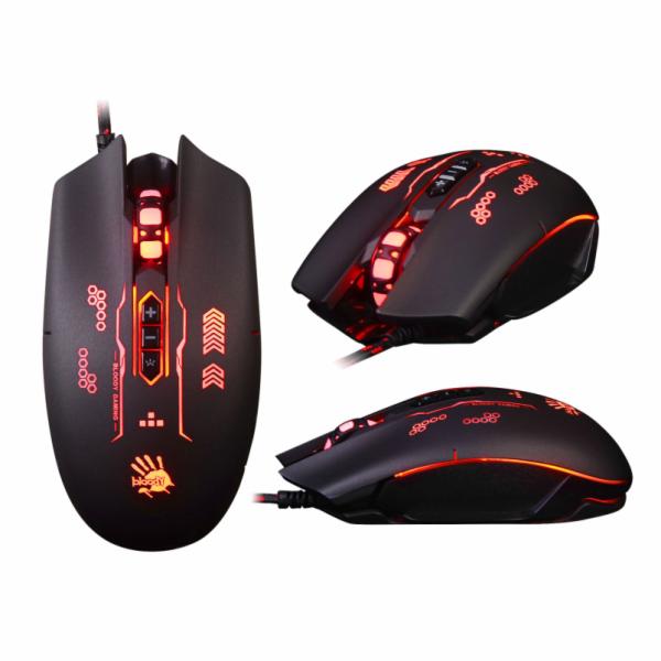 A4tech BLOODY Q80B herní myš, 3200DPI, USB, gunfire,3 druhy podsvícení,metalické podložky, černá