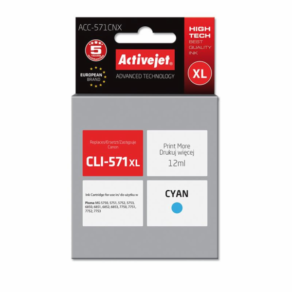 ActiveJet ink Canon CLI-571C XL new ACC-571CNX 12 ml