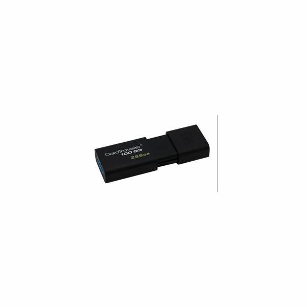 Kingston flash disk 256GB DT 100 G3 USB 3.0 (čtení/zápis: 130/10MB/s) černý