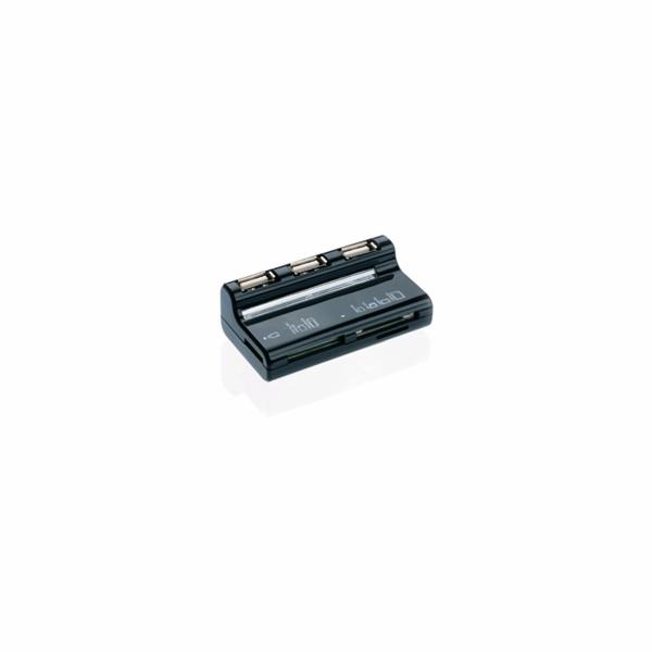 CONNECT IT USB COMBO hub 3 porty + čtečka karet BOOT černé