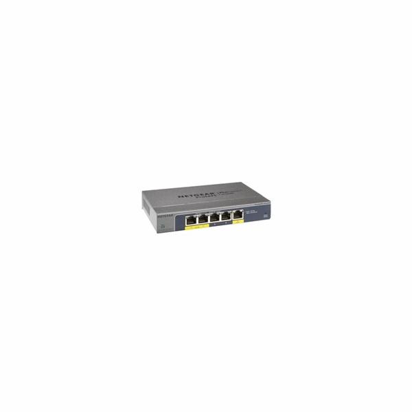 Netgear GS105PE 5PT GIGABIT POE PLUS SWITCH, bez zdroje - napájen přes PoE, 2 PoE porty