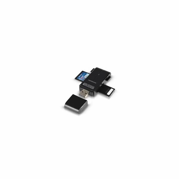 AXAGON CRE-D4B, USB 2.0 externí HANDY čtečka 4-slot SD/MicroSD/MS/M2, černá