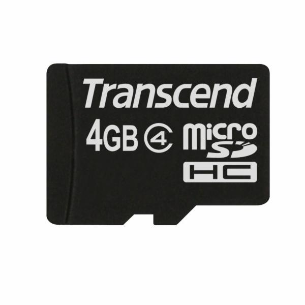 TRANSCEND MicroSDHC karta 4GB Class 4, bez adaptéru