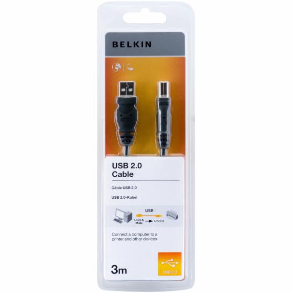 Belkin USB 2.0 Premium Printer Cable, USB-A/USB-B, 3m, black