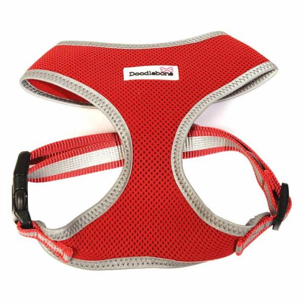 Doodlebone reflexní postroj, Airmesh, červený, velikost XL