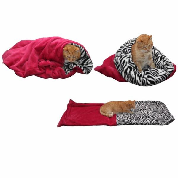 Marysa pelíšek 3v1 pro kočky, fuchsiový/zebra, velikost XL