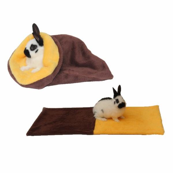 Marysa pelíšek 3v1 pro hlodavce, tmavě hnědý/žlutý