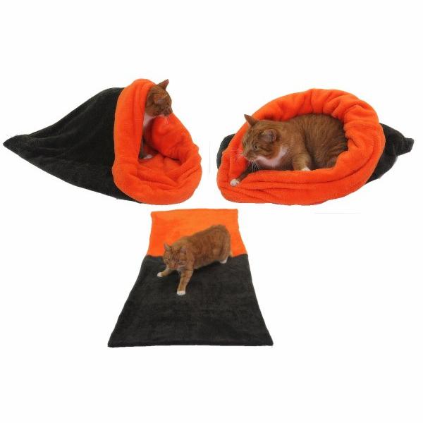 Marysa pelíšek 3v1 pro kočky, tmavě šedý/oranžová, velikost XL