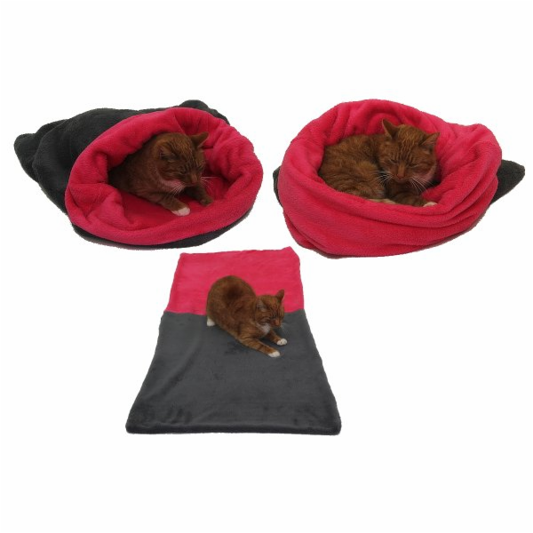 Marysa pelíšek 3v1 pro kočky, šedý/tmavě růžový, velikost XL