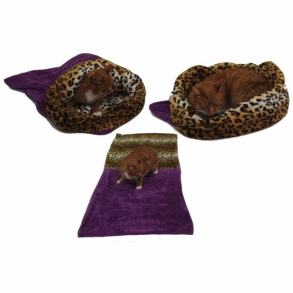 Marysa pelíšek 3v1 pro kočky, fialový/leopard, velikost XL
