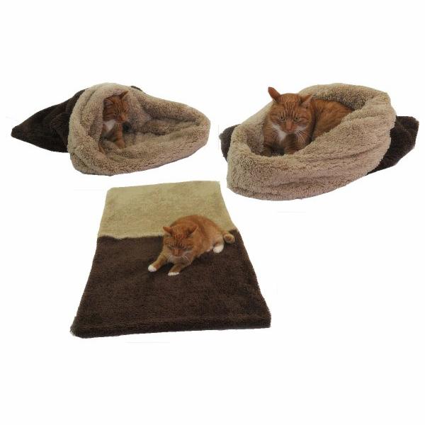 Marysa pelíšek 3v1 pro kočky, DE LUXE, tmavě hnědý/béžový, velikost XL