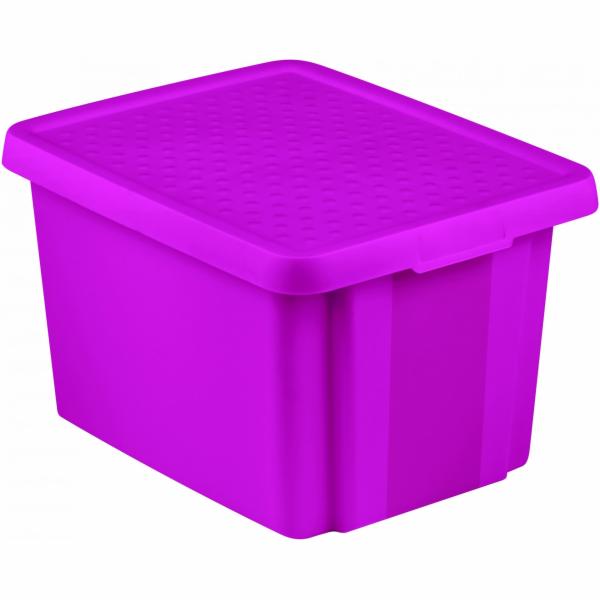 Curver Úložný box ESSENTIALS 26l s víkem fialový