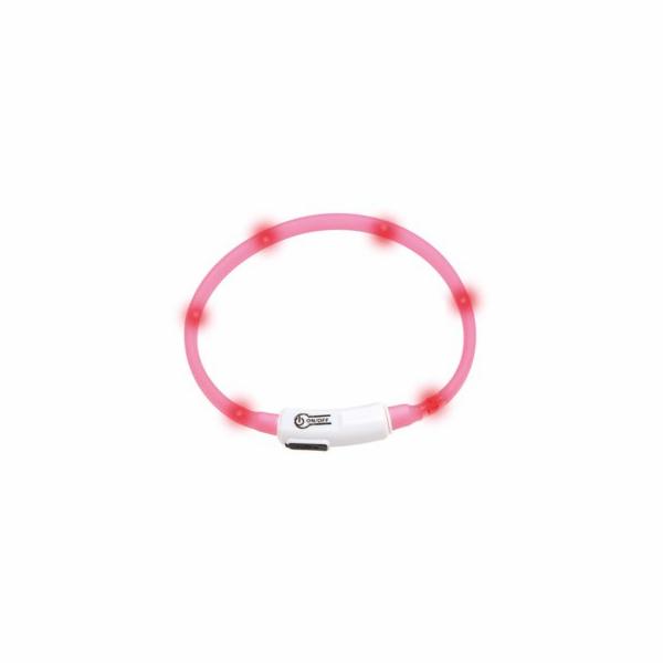 Karlie LED světelný obojek pro kočky růžový obvod 20-35cm