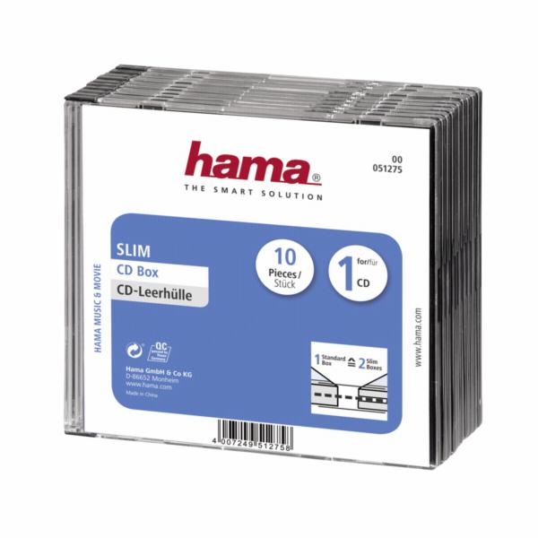 1x10 Hama pouzdro na CD Slim-Line transp./cerné 51275