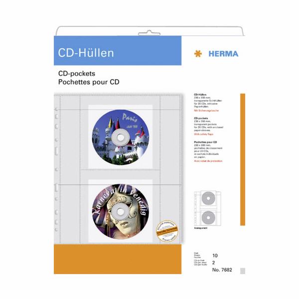 Herma CD-pouzdra pro 2 CD vc. papiroveho pouzdra 10 kusu 7682